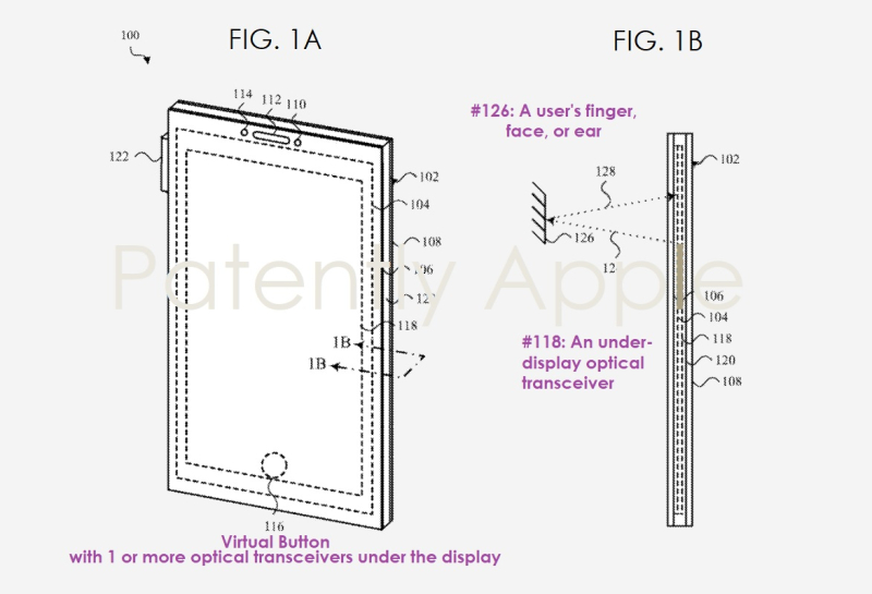 2 - Apple patent figs  Optical Transceivers under display