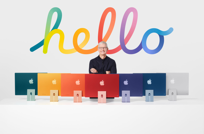 1 Cover Tim Cook with new 2021 iMacs